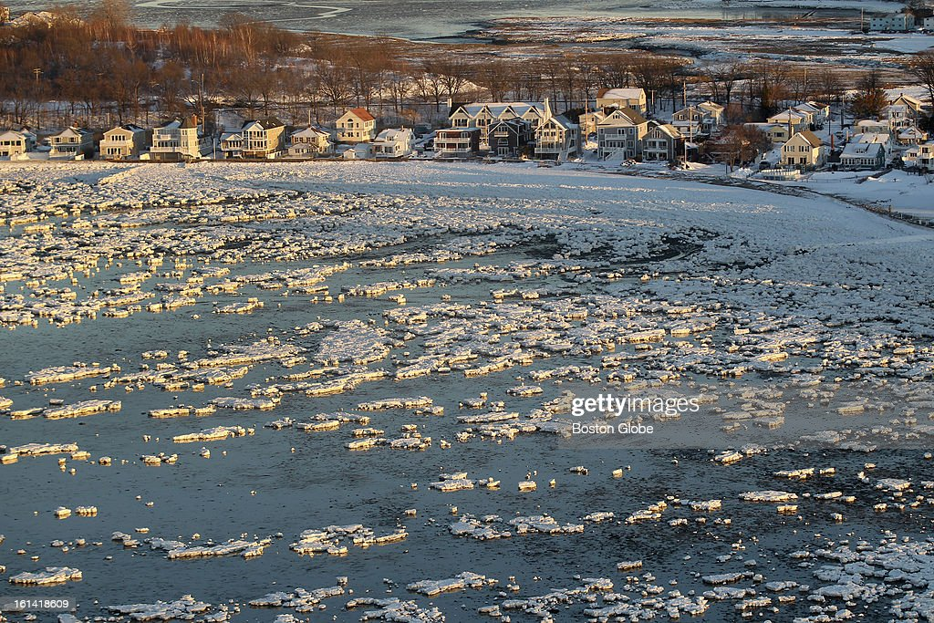An aerial view of snow and ice along the coast of Quincy, Mass. on Sunday, Feb. 10, 2013, after a blizzard hit New England.