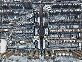 An aerial view of snowcovered buildings on January 31 2016 in Xi An China Heavy snow hit Xi'an capital of northwest China's Shaanxi province on Sunday