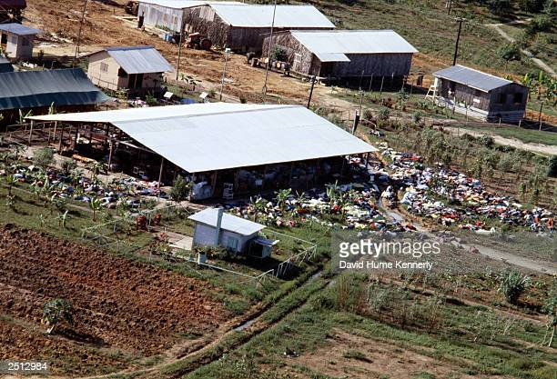 An aerial view of some of the bodies at Jonestown November 18 1978 over 900 members of the People's Temple Cult led by Reverend Jim Jones died in...