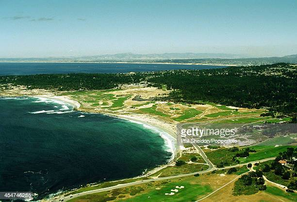 An aerial view of Spanish Bay Golf Course in Pebble Beach California on 27th August 1999
