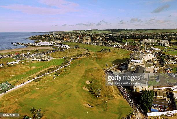 An aerial view of St Andrews Golf Course showing the 17th 18th 1st 2nd and 3rd fairways during the British Open Golf Championship circa June 2000