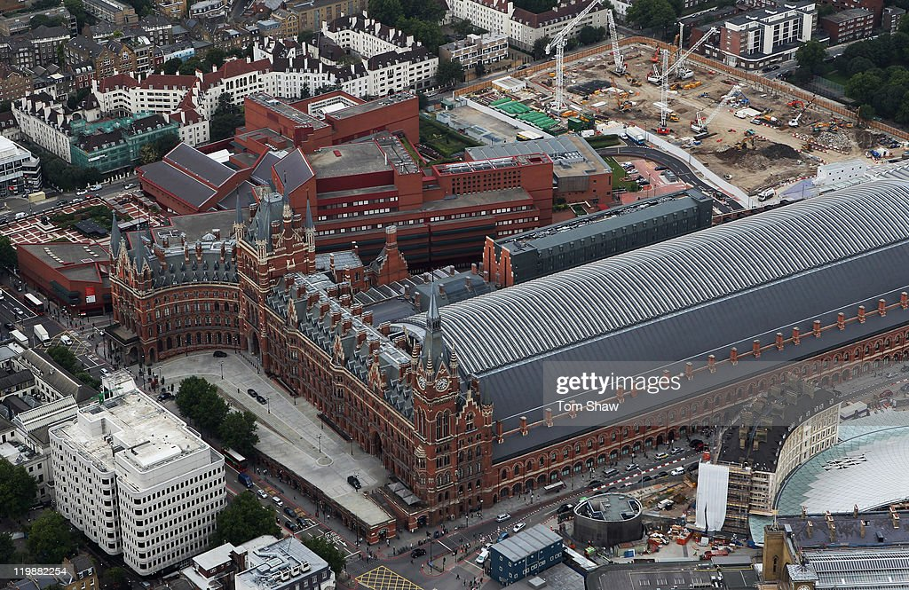 An Aerial view of St Pancras Stations on July 26, 2011 in London, England. London will host the 2012 Olympic Games.
