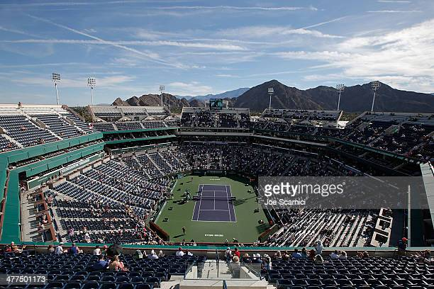 An aerial view of Stadium 1 during the BNP Paribas Open at Indian Wells Tennis Garden on March 9 2014 in Indian Wells California
