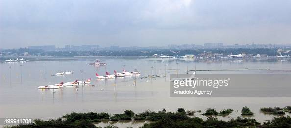 An aerial view of submerged Chennai airport taken by the Indian Air Force helicopter following heavy rains in the region on December 02 in this...