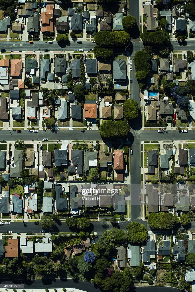 An aerial view of  suburbian housing and garden