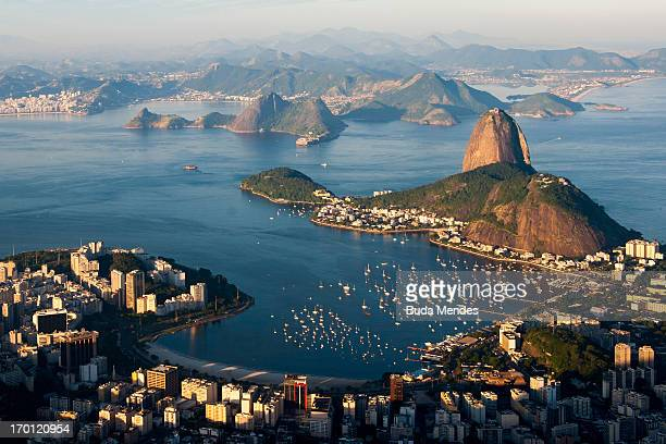 An aerial view of Sugar Loaf Mountain ahead of the FIFA Confederations Cup Brazil 2013 on June 6 2013 in Rio de Janeiro Brazil
