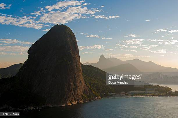 An aerial view of Sugar Loaf Mountain and the Christ The Redeemer statue ahead of the FIFA Confederations Cup Brazil 2013 on June 6 2013 in Rio de...