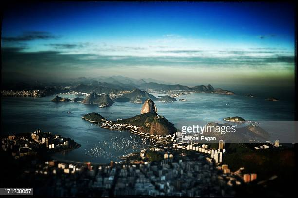 An aerial view of Sugar Loaf Mountain on June 6 2013 in Rio de Janeiro Brazil