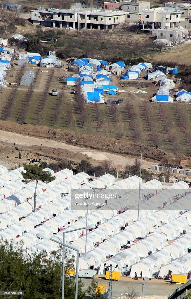 An aerial view of tent city in Guvecci neighborhood in Hatay, Turkey on February 6, 2016 where Turkmen people, fled from their homes due to Russian and Assad Regime forces attacks to Bayirbucak. Turkmen families were taken to tent city by Turkish government.