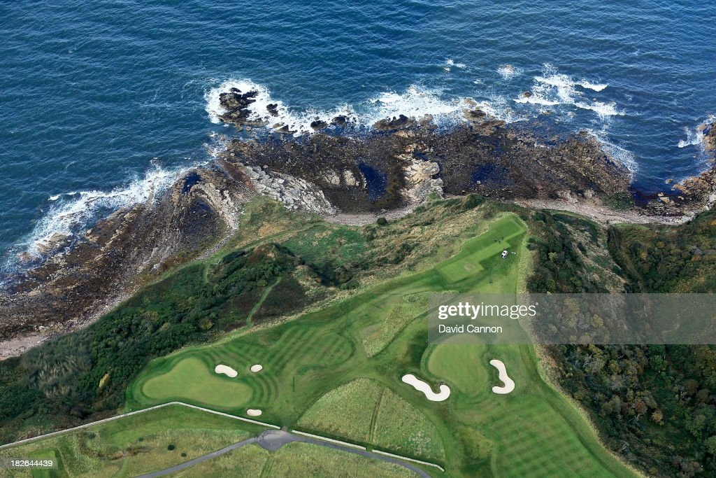 An aerial view of the 15th green and the par 3 16th hole on the Kittocks Course at the Fairmont St Andrews Bay Golf Resort on September 25 2013 in St...
