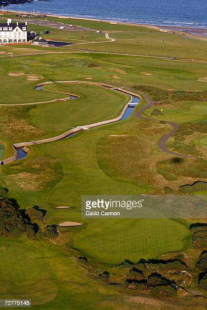 An aerial view of the 433 yds par 4 17th hole 'Island' on the Carnoustie Championship Course venue for the 2007 Open Championship on September 8th in...