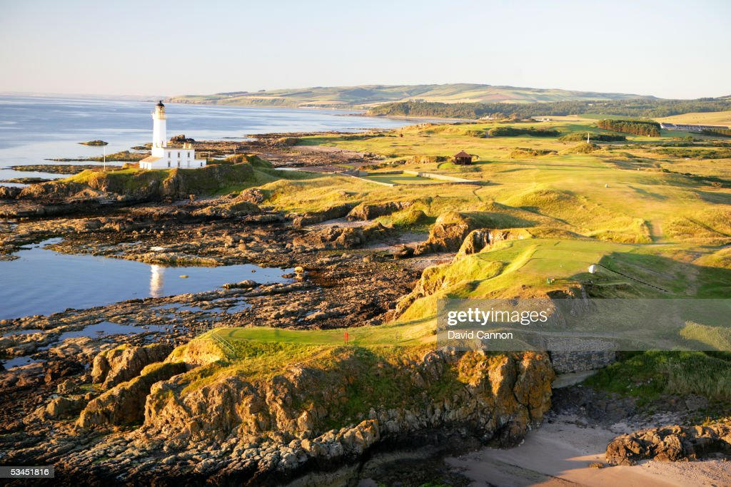 An aerial view of the 454 yard par 4 9th hole that runs past the lighthouse on the Ailsa Course at The Westin Turnberry Resort on July 10 2005 in...