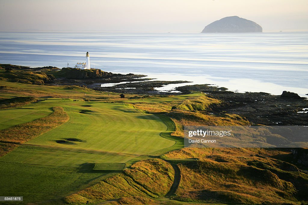 An aerial view of the 480 yard par 4 9th hole on the Kintyre Course at The Westin Turnberry Resort on July 10 2005 in Turnberry Scotland