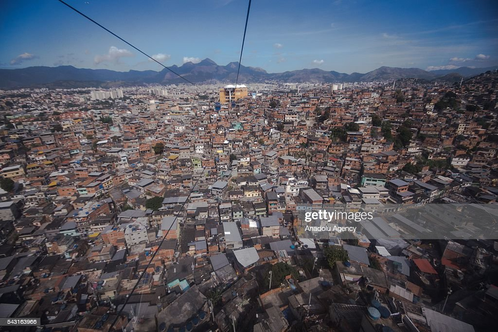 An aerial view of the Alemao Complex, Morro do Alemao is seen in Rio de Janeiro, Brazil on June 26, 2016.