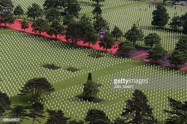 An aerial view of the American cemetery in CollevillesurMer near Omaha beach on June 3 as preparations were being made for the upcoming DDay...