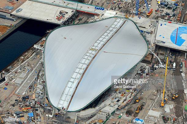 An aerial view of the Aquatic Center 2 years before the start of the games on 30th July 2010 in StratfordLondon