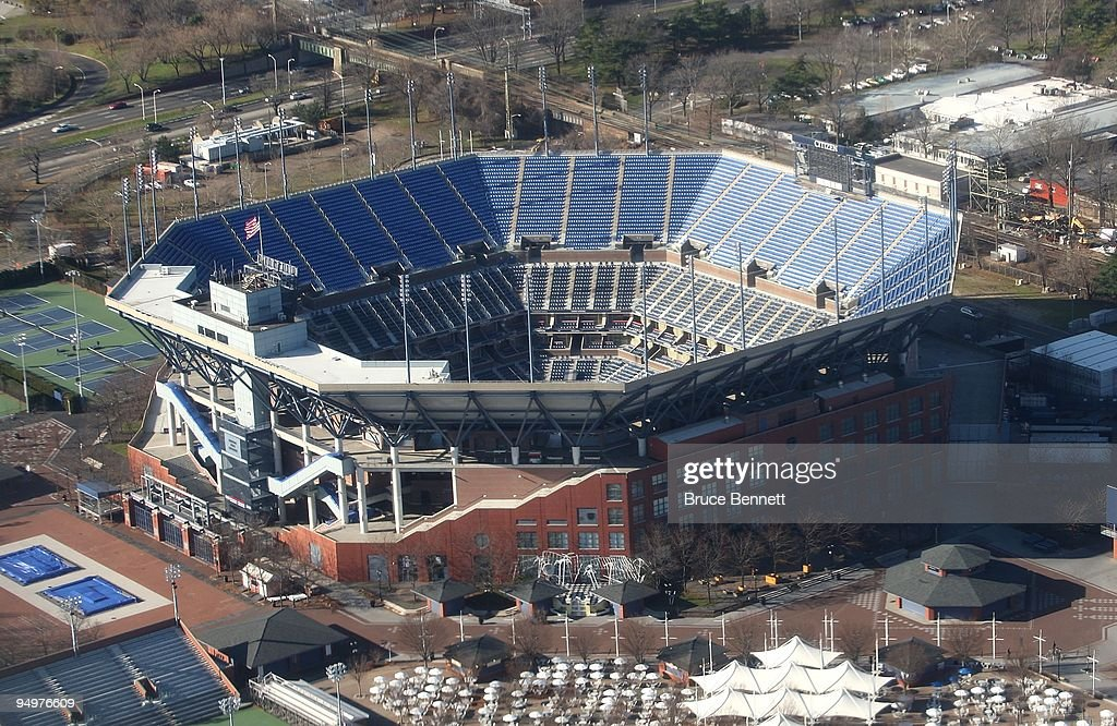 An aerial view of the Arthur Ashe Stadium at the U.S. Tennis Center photographed on Decmber 15, 2009 in Flushing Meadows, New York.