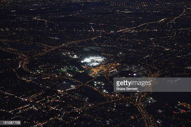 An aerial view of the Arthur Ashe Stadium at the USTA Billie Jean King National Tennis Center located within the Flushing MeadowsCorona Park as...