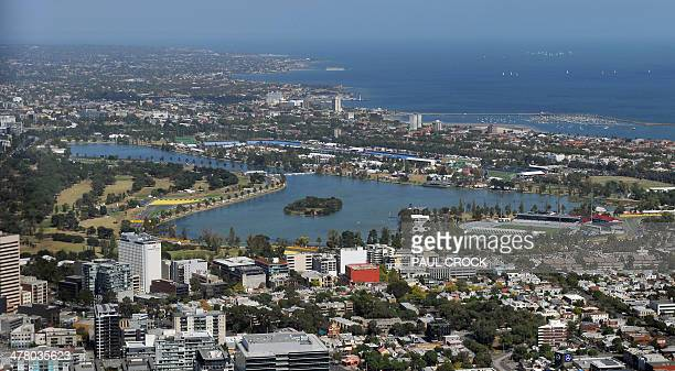 An aerial view of the Australian Formula One Grand Prix Circuit around Albert Park Lake ahead of the Formula One Australian Grand Prix in Melbourne...
