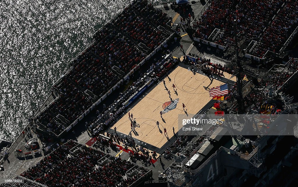 An aerial view of the Battle On The Midway college basketball game played between the Syracuse Orange and the San Diego State Aztecs on board the USS Midway on November 11, 2012 in San Diego, California.