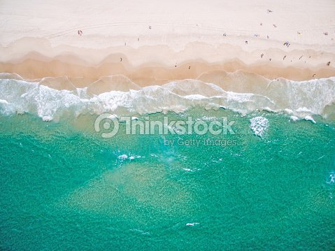An aerial view of the beach in summer : Stock Photo