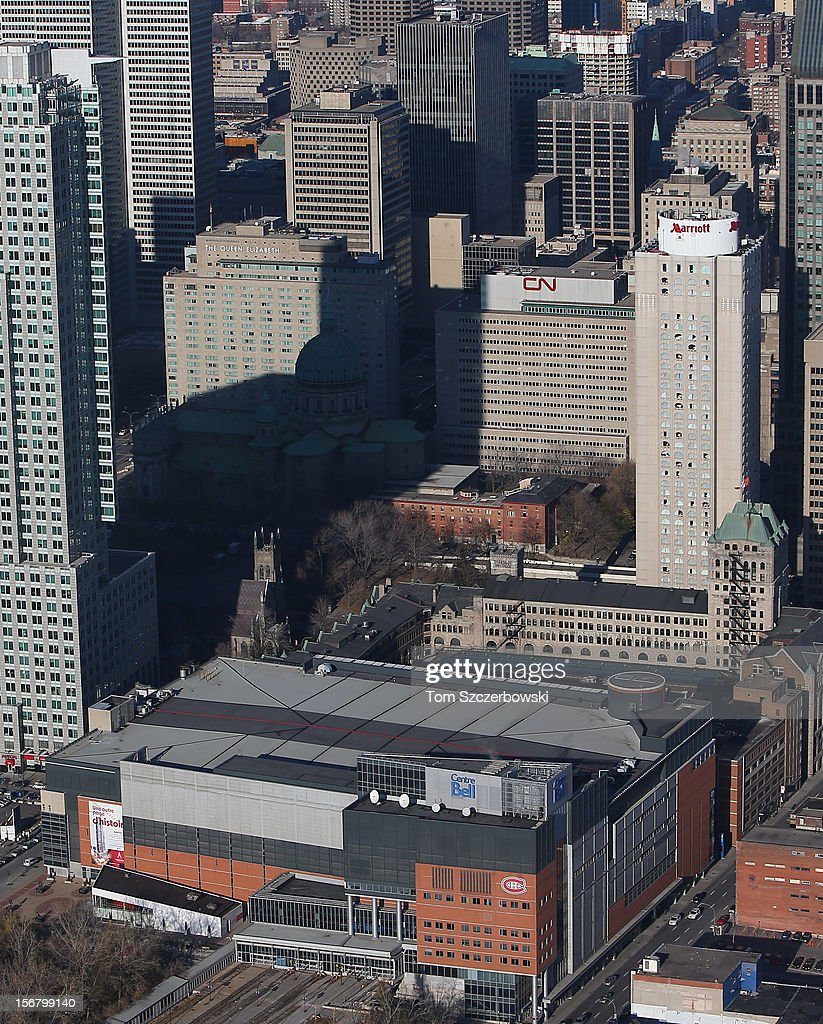 An aerial view of the Bell Centre and the Montreal skyline is seen from above on November 18, 2012 in Montreal, Quebec.
