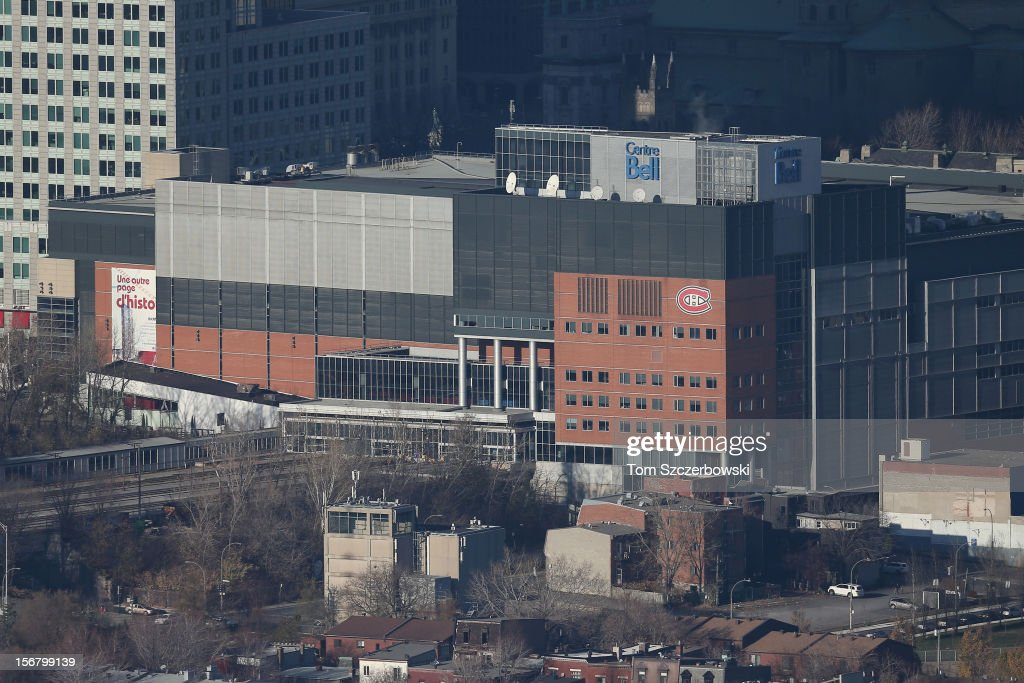 An aerial view of the Bell Centre is seen from above on November 18, 2012 in Montreal, Quebec.
