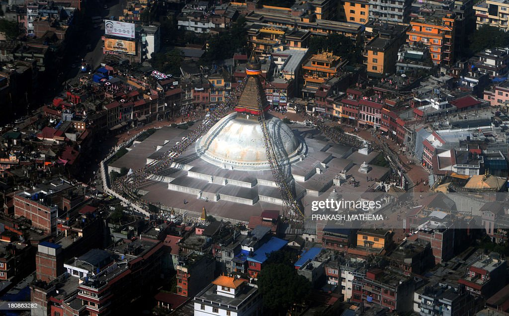 An aerial view of the Boudhanath Stupa in Kathmandu on September 17 2013 The Bouddhanath stupa which was declared a world heritage site by UNESCO in...