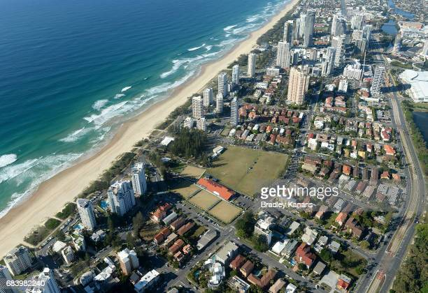 An aerial view of the Broadbeach Bowls Club can be seen it will host the Lawn Bowls event at the 2018 Commonwealth Games on May 17 2017 in Gold Coast...