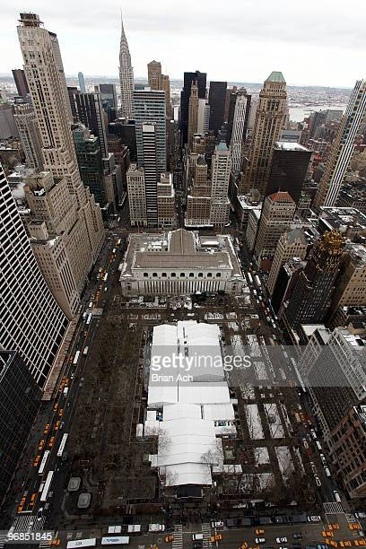 An aerial view of the Bryant Park tents at MercedesBenz Fashion Week on February 18 2010 in New York City
