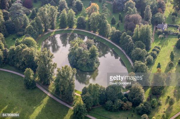 An aerial view of the burial site of Diana Princess of Wales on Septer 9 2006 The Round Oval lake is located in the Althorp Estate home to Spencer...