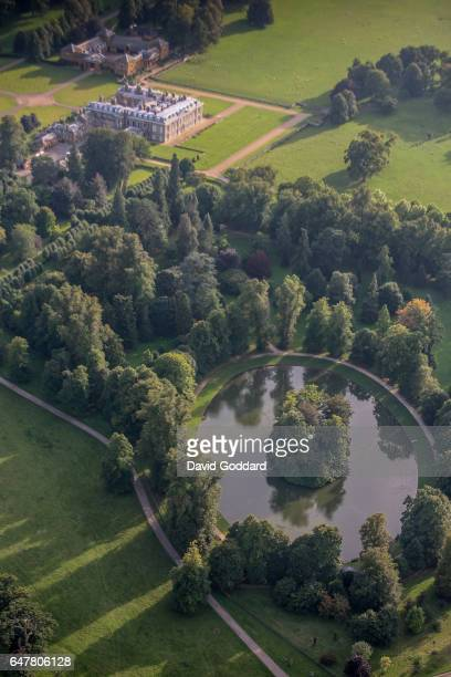 An aerial view of the burial site of Diana Princess of Wales on September 9 2006 The Round Oval lake is located in the Althorp Estate home to Spencer...