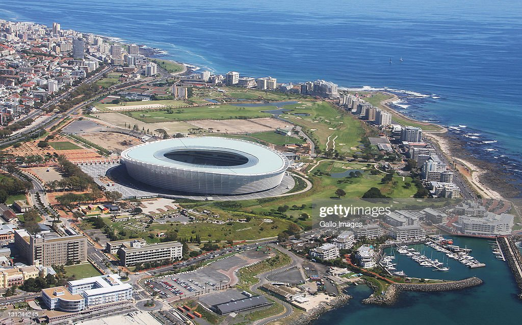 An aerial view of The Cape Town Stadium on September 16 2011 in Cape Town The stadium is connected to the waterfront by a new road connection Granger...