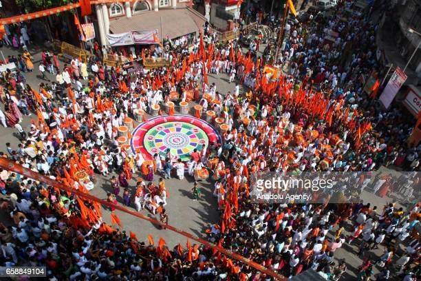 An aerial view of the celebration of the Gudi Padwa Maharashtrian's New Year in Mumbai India on March 28 2017 Gudi Padwa is the Hindu festival that...