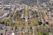 An aerial view of the central grounds on campus at the University of Virginia on March 1 2013 in Charlottesville Virginia
