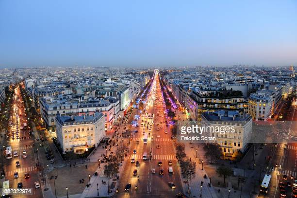 An aerial view of the Champs Elysees in Paris during an winter day in Paris on december 10 2015 in Paris France