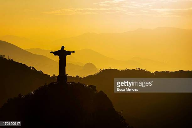 An aerial view of the Christ The Redeemer statue ahead of the FIFA Confederations Cup Brazil 2013 on June 6 2013 in Rio de Janeiro Brazil