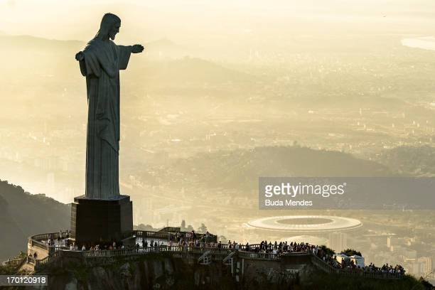 An aerial view of the Christ The Redeemer statue and the Maracana Stadium ahead of the FIFA Confederations Cup Brazil 2013 on June 6 2013 in Rio de...