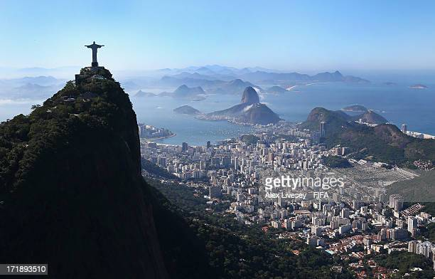 An aerial view of the Christ The Redeemer statue and the Sugar Loaf Mountain is seen ahead of the FIFA Confederations Cup Brazil 2013 Final on June...