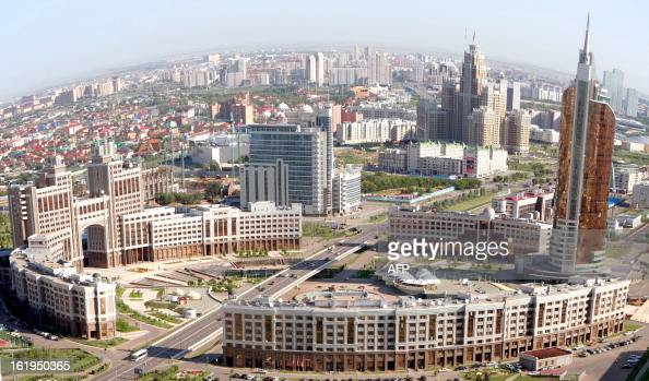 An aerial view of the city of Astana taken on July 28 2011 Kazakh capital formerly known as Akmola until 1998 Tselinograd until 1992 and Akmolinsk...