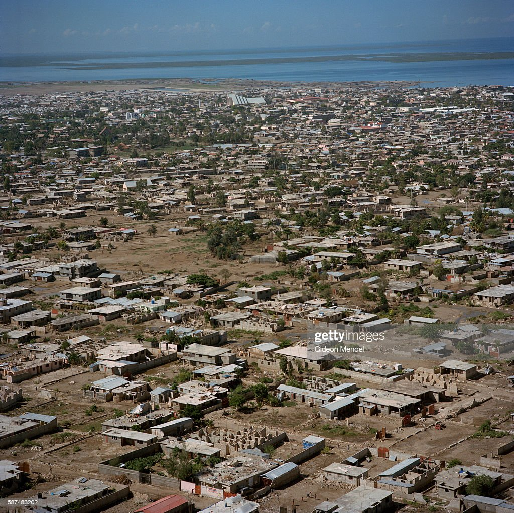 An aerial view of the city of Gonaives two weeks after it was flooded during Hurricanes Ike and Hanna At this point most of the water which had...