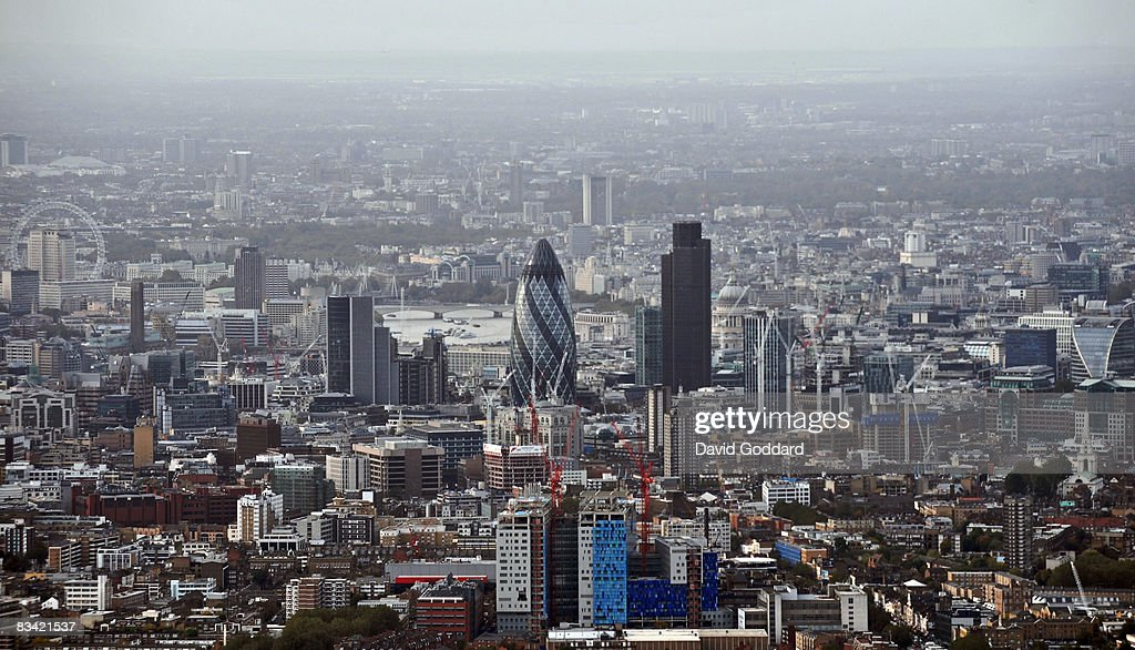 An aerial view of the city of London skyline is seen on October 24, 2008 in London, England. As markets across the globe continue to struggle the world wide credit crunch begins to bite deeper with fears of economic recession.