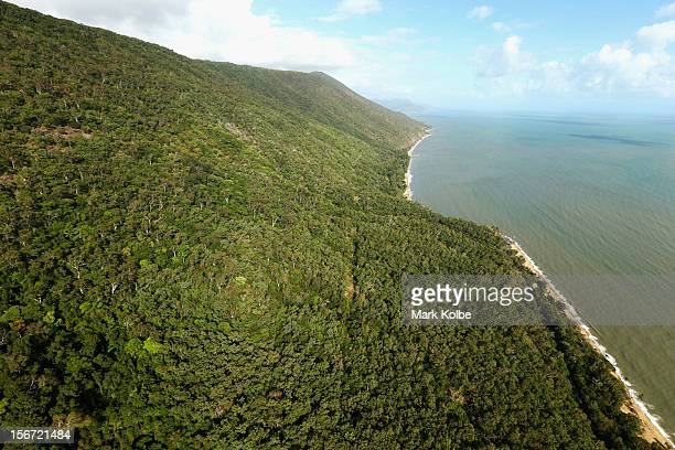An aerial view of the coastal Captain Cook Highway is on November 13 2012 in Cairns Australia Located in Far North Queensland the Cairns region is...