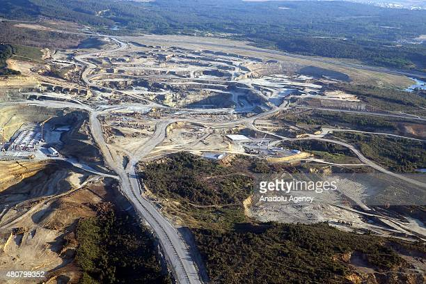 An aerial view of the construction site of the Istanbul's 3rd international airport which is planned to be the largest airport in the world with an...