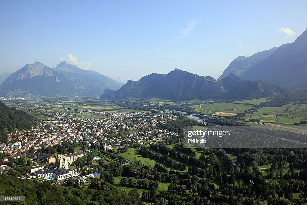 An aerial view of the course and town of Bad Ragaz during the final round of the Bad Ragaz PGA Seniors Open played at Golf Club Bad Ragaz on July 7, 2013 in Bad Ragaz, Switzerland.