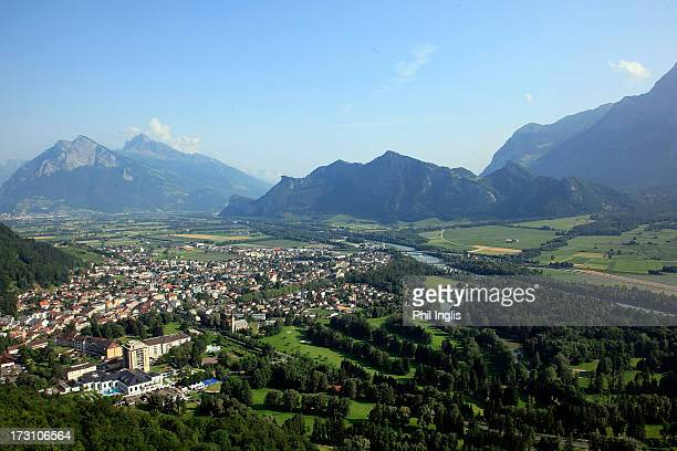 An aerial view of the course and town of Bad Ragaz during the final round of the Bad Ragaz PGA Seniors Open played at Golf Club Bad Ragaz on July 7...