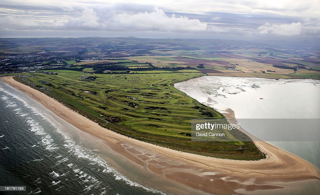 An aerial view of the courses at St Andrews during a practice round on the Old Course for the 2013 Alfred Dunhill Links Championship on September 25...