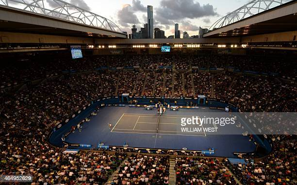 An aerial view of the court shows Li Na of China hitting a return against Dominika Cibulkova of Slovakia during their women's singles final on day 13...