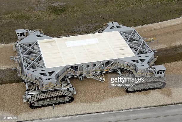 An aerial view of the crawler-transporter on the crawlerway.