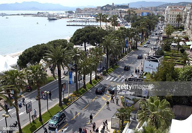 An aerial view of the Croisette during 57th International Cannes Film Festival May 13 2004 in Cannes France